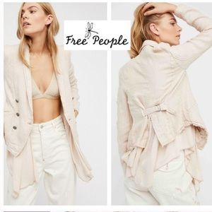 Free people  linen Layered Ruffles Blazer sz s